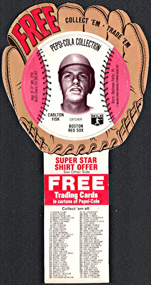 #BA133 - 1977 Pepsi Glove Disc Carton Insert Featuring Hall of Famer Carlton Fisk