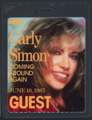 ##MUSICBP0165 - Carly Simon OTTO Laminated Backstage Pass for the 1987 Coming Around Again Tour - As low as $3.50 each