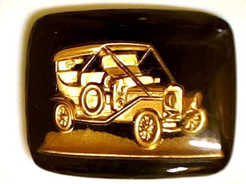 #BEADS0462 - Large 27mm Black and Gold Intaglio with Ford Model A Roadster - As low as $1 each