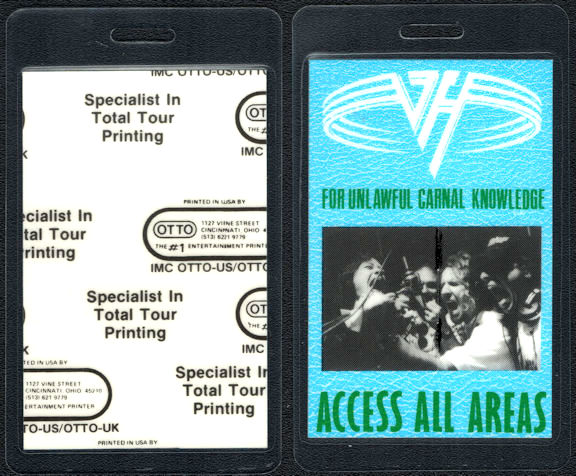 """##MUSICBP0749 - Van Halen Laminated OTTO Backstage Pass from the """"For Unlawful Carnal Knowledge"""" Tour"""