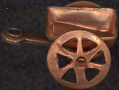 #BEADSC0219 - Copper Plated Cart Charm with Moving Wheels