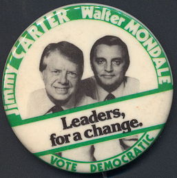 #PL326 - Large Pictorial Carter Mondale Leaders for a Change Pinback