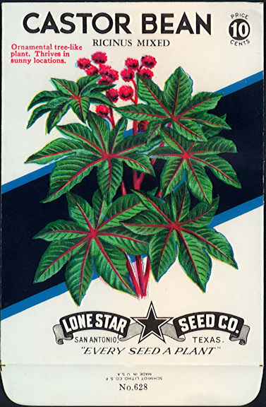 #CE005 - Ricinus Mixed Castor Bean Lone Star 10¢ Seed Pack - As Low As 50¢ each