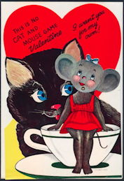 #HH191 - Huge Diecut Mechanical Valentine with a Cat and Mouse and with Original Envelope