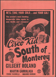 #CH326-39 - The Cisco Kid in South of Monterey Movie Poster Broadside