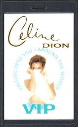 ##MUSICBP0606  - Celine Dion VIP Laminated T-Bird Backstage Pass from the Falling Into You Around the World Tour