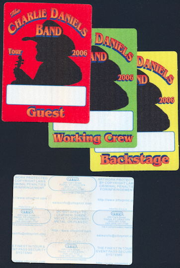 ##MUSICBP0374 - Group of 3 Different Charlie Daniels Cloth Backstage Passes from the 2006 Tour - Working  Crew, Guest, and Backstage