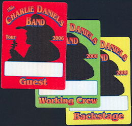 ##MUSICBP0374 - Group of 3 Different Charlie Daniels Cloth Backstage Passes from the 2006 Tour