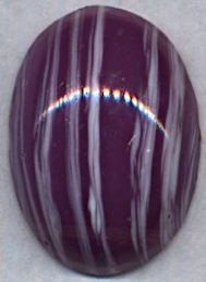 #BEADS0765 - Huge 25mm White and Purple Striped Glass Cabochon - Cherry Brand - As Low as 50¢