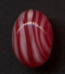 #BEADS0780 - 14mm Red and White Swirl Glass Cabochon - Cherry Brand