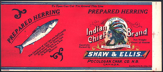 #ZLCA237 - Rare Early Indian Chief Pocologan Herring Can Label