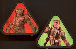 #CH283  - Pair of Licensed Toy Rings with Small Soldiers Characters - Chip Hazard and Archer