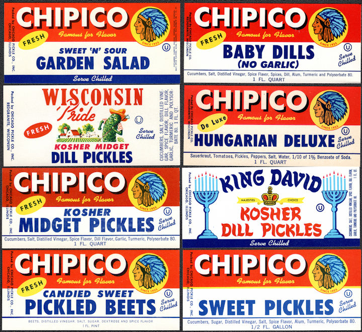 #ZBOT429 - Group of 8 Different Chicago Pickle Jar Labels - Indian Head