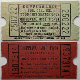 #MS344 - Pair of Tickets from the Defunct Chippewa Lake Amusement Park - Chippewa Lake, Ohio