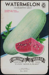 #CE084 - Charleston Gray Watermelon Lone Star 10¢ Seed Pack - As Low As 50¢ each
