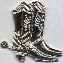 #BEADS0726 - Large Chromed Tin Cowboy Boots Metal Finding - As low as 25¢