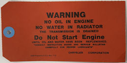 #CA145 - Chrysler Carboard Warning Tag - 1932