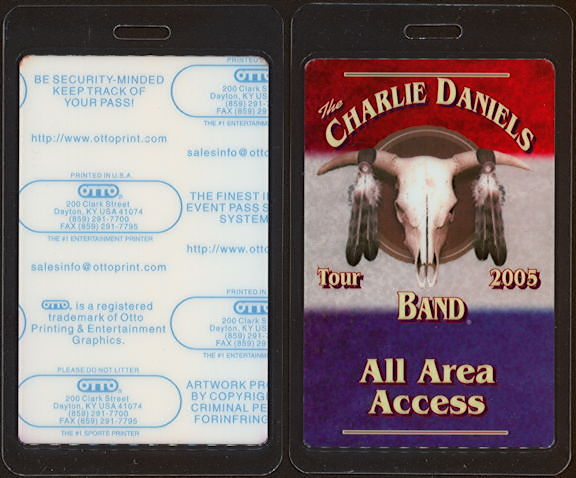 ##MUSICBP0475 - Charlie Daniels Band All Area Access Laminated OTTO Backstage Pass from the 2005 Tour