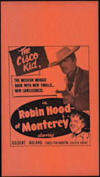 "#CH326-36  - Gilbert Roland in ""Robin Hood of Monterey"" Cisco Kid Movie Poster Broadside"