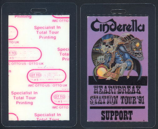##MUSICBP0351  - 1991 Cinderella Laminated Backstage Pass from the Heartbreak Station Tour