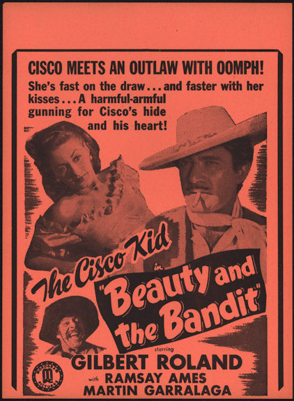 "#CH326-15  - Gilbert Roland in ""Beauty and the Bandit"" Cisco Kid Movie Poster Broadside"
