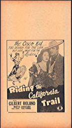 "#CH326-32  - Gilbert Roland in ""Riding the California Trail"" Cisco Kid Movie Poster Broadside"