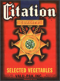 ZLSH212 - Group of 12 Citation Selected Vegetables Crate Labels