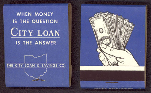 #TM093 - Full Unused Pack Front Cover Striker City Loan Bank Matches - As Low As 20¢/Pack