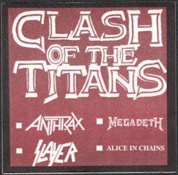 ##MUSICBP0600 - OTTO Cloth Backstage Pass from the Clash of the Titans Tour - Anthrax, Slayer, Megadeth, and Alice in Chains