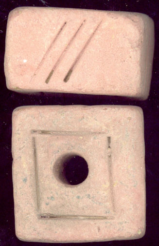 #BEADS0179 - Large Handmade Terra Cotta Indonesian Trade Bead/Pendant from the Hippie Store - Flat Square