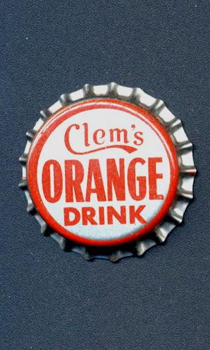 #BC143 - Group of 10 Cork Lined Clem's Orange Drink Soda Bottle Cap