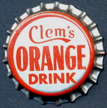 #BC143 - Group of 10 Cork Lined Clem's Orange Drink Soda Bottle Cap