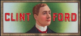 #ZLSC079 - Clint Ford Cigar Box End Label - Famous Actor - As low as 50¢ each