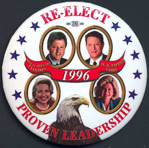 #PL324 -  Re-Elect Bill and Hillary and Al and Tipper Pinback