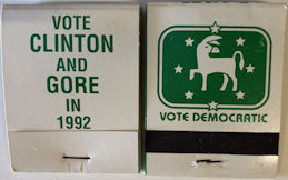 #PL352 - Vote Clinton and  Gore in 1992 Unused Pack of Matches