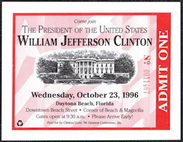 #PL350 - Fancy Ticket for Bill Clinton Presidential Campaign Event in Daytona Beach, Florida