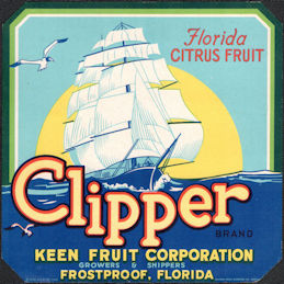 #ZLC451 - Clipper Florida Citrus Fruit Crate Label