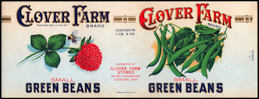#ZLCA235 - Clover Farm Green Beans Can Label with Bumblebee - As Low as $1 ea