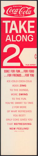 #CC337 - Group of 3 Coca Cola Carton Inserts with Coke Adds Zing Logo
