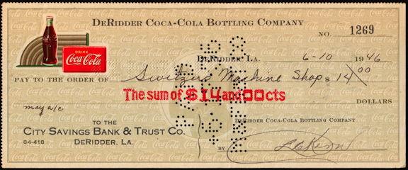 #CC354 - Scarce 1946 Coca Cola Check from the DeRidder LA Plant