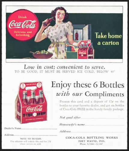 #CC299 - 1940s Coca Cola Two Part Ad Card/Coupon with Lady and a Carton of Coke