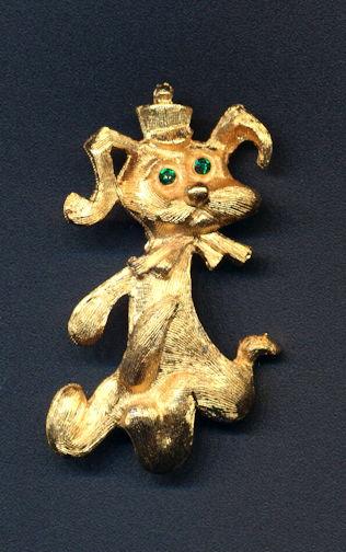 #BEADS0785 - Well Made Metal Cocker Spaniel Dog Pin with Rhinestone Eyes