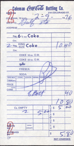 #CC268 -Coca Cola Route Receipt from the Coleman Plant