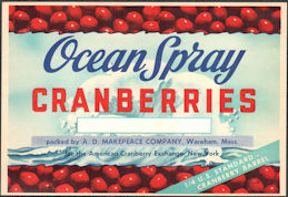#ZLC478 - Ocean Spray Cranberries 1/4 Barrel Cranberries Label - Wareham, MA