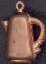 #BEADSC0102 - Copper Three Dimensional Coffee Pot Charm with Loop