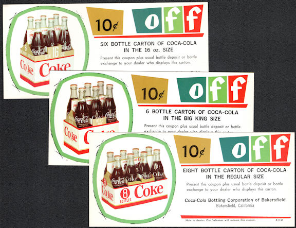 #CC366 - Group of 3 Different Coca Cola 10 Cents off Coupons