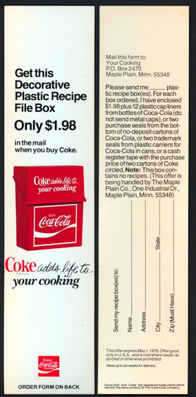 #CC194 - Coke Carton Insert Advertising Coke Recipe File Box