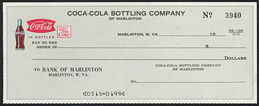 #CC290 - Very Uncommon Coca-Cola Checks from the Marlinton Plant
