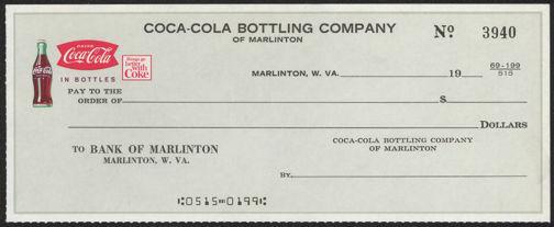 #CC290 - Very Uncommon Coca-Cola Checks from the Marlinton Plant