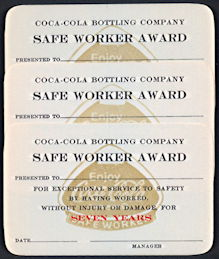 #CC335 - Three Different Coca Cola Safe Worker Award Card